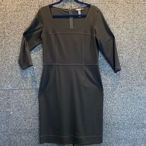 DKNY Black Dress Semi Sheer Yoke and Sleeves 12